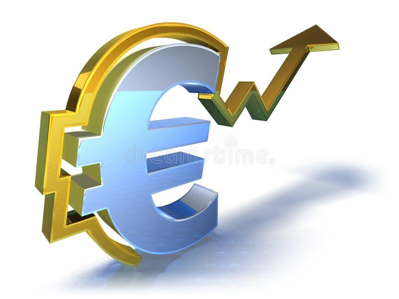 Euro que vai acima ilustração royalty free