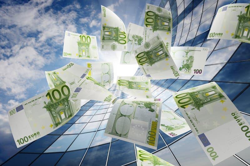 Euro que vuela ilustración del vector