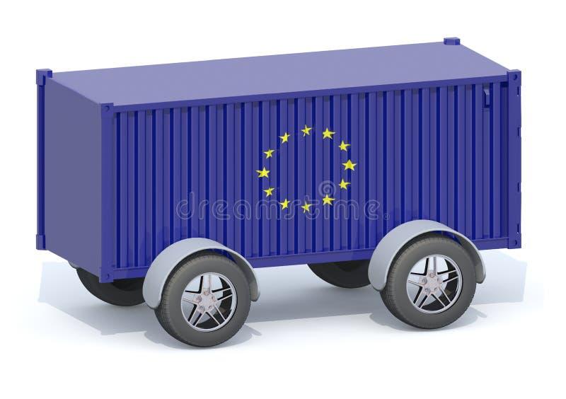 Euro récipient d'expédition de drapeau avec des roues illustration libre de droits