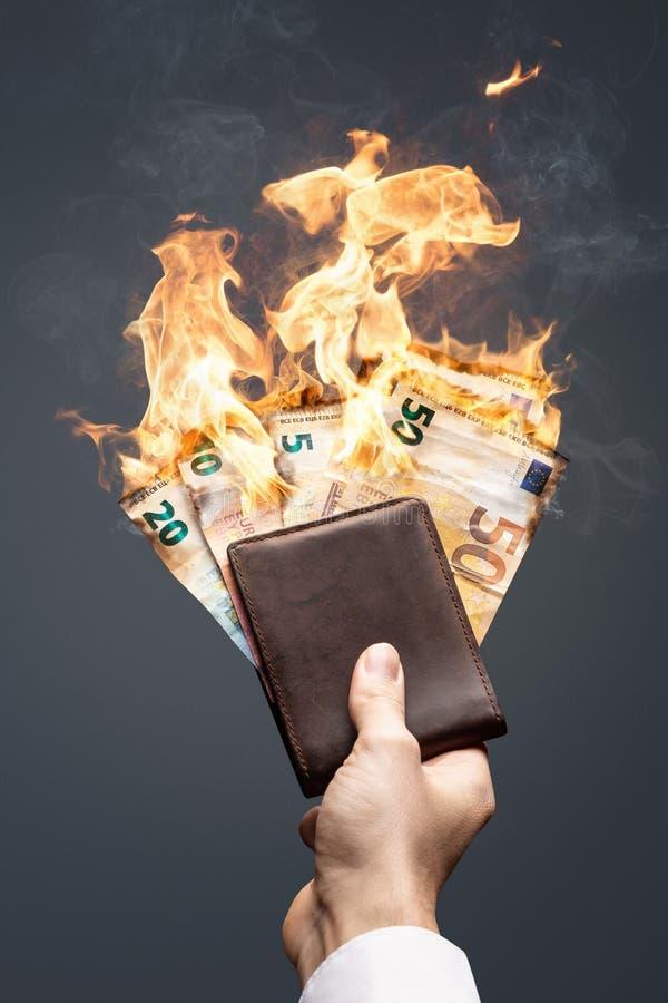 Euro rachunki w portfla paleniu z jaskrawym płomieniem obrazy stock