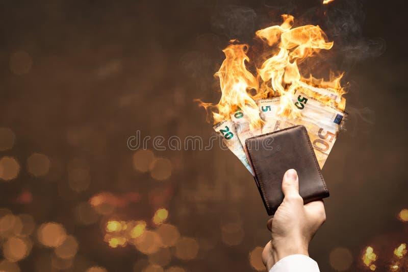 Euro rachunki w portfla paleniu z jaskrawym płomieniem zdjęcie royalty free