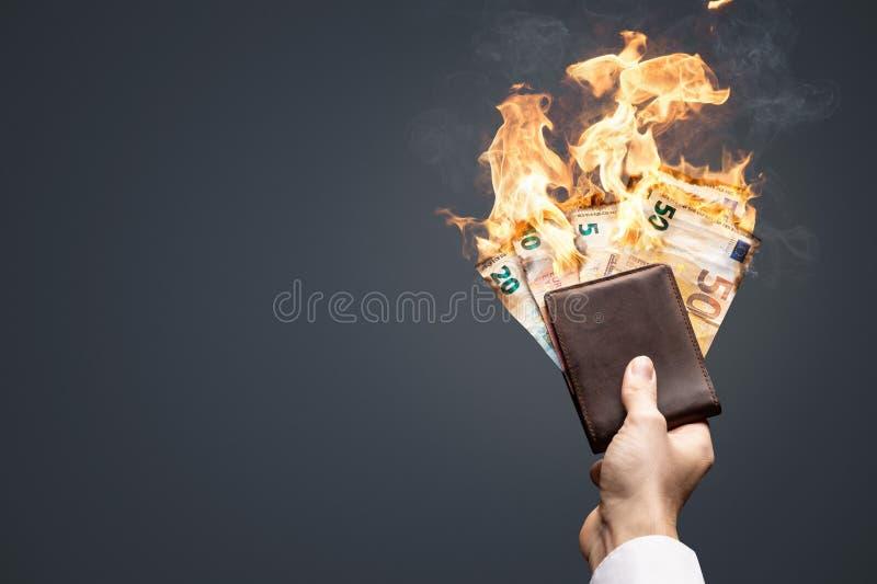 Euro rachunki w portfla paleniu z jaskrawym płomieniem fotografia royalty free