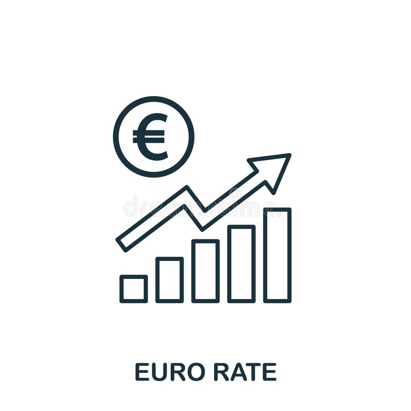 Euro Rate Increase Graphic icon. Mobile apps, printing and more usage. Simple element sing. Monochrome Euro Rate. Increase Graphic icon illustration stock illustration