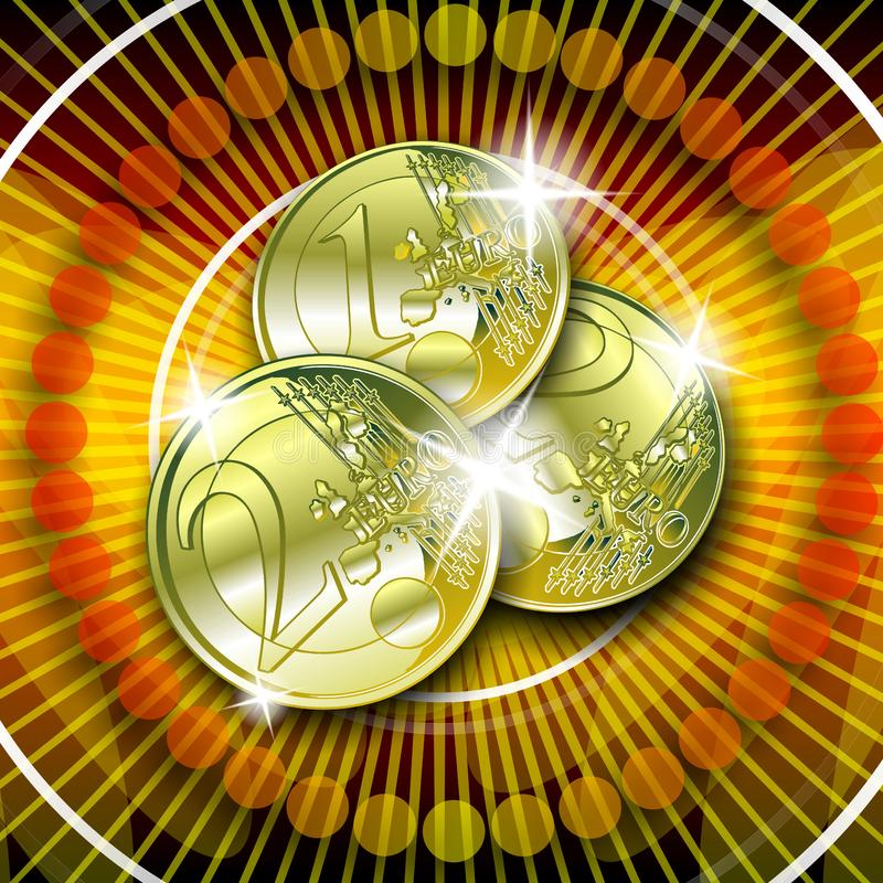 Euro on red background. Casino graphic with sparkling gold money on red background royalty free illustration