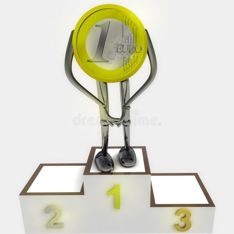 Euro robot della moneta come illustrazione di cerimonia del vincitore illustrazione vettoriale
