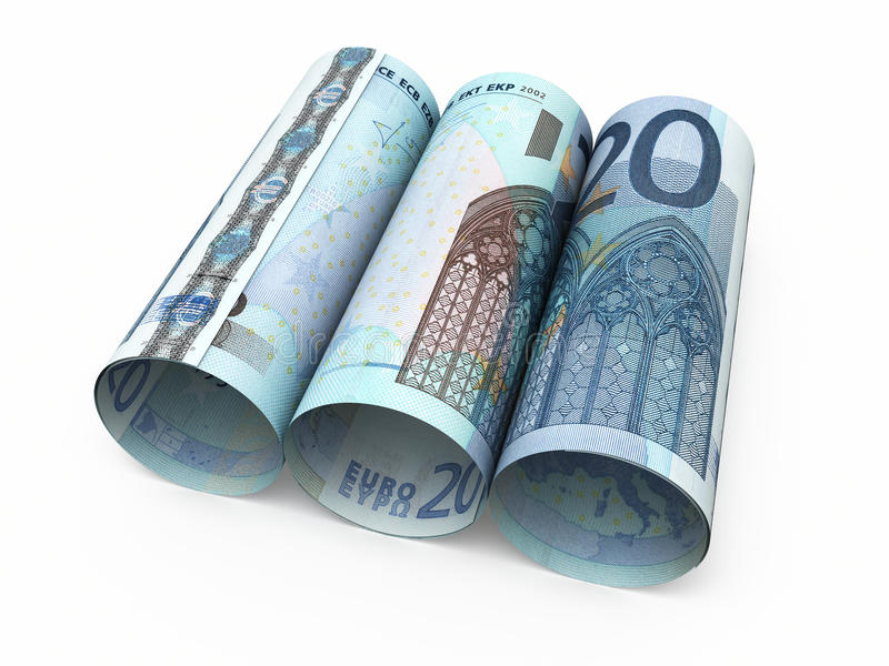 20 Euro rolling banknotes. 3d render Twenty Euro rolling banknotes close-up isolated on white and clipping path royalty free illustration
