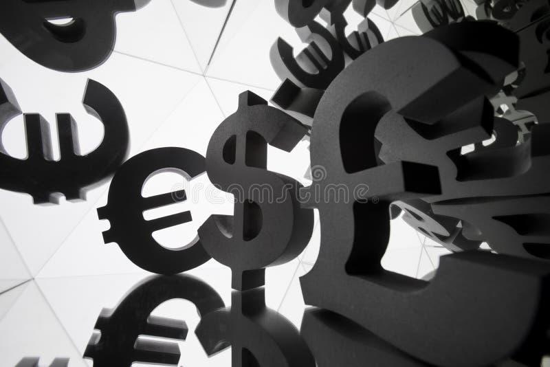 Euro, símbolo de moneda del dólar con muchas imágenes que duplican de sí mismo imagen de archivo