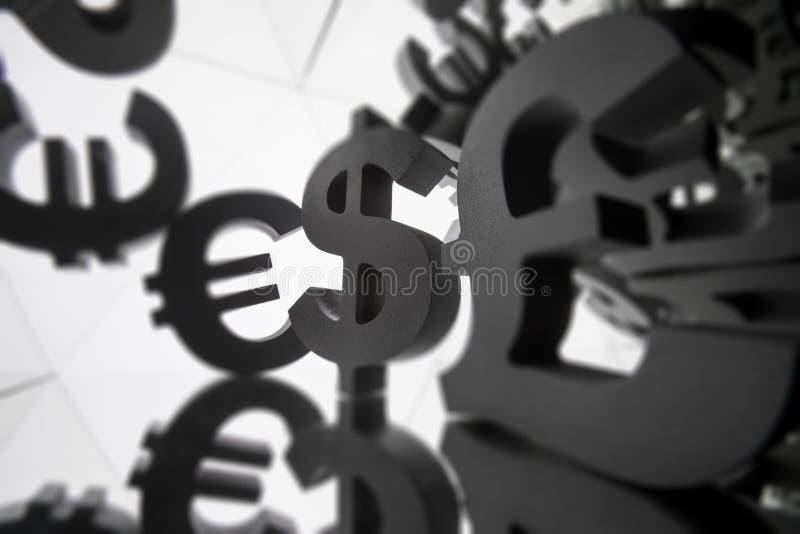 Euro, símbolo de moneda del dólar con muchas imágenes que duplican de sí mismo fotografía de archivo libre de regalías