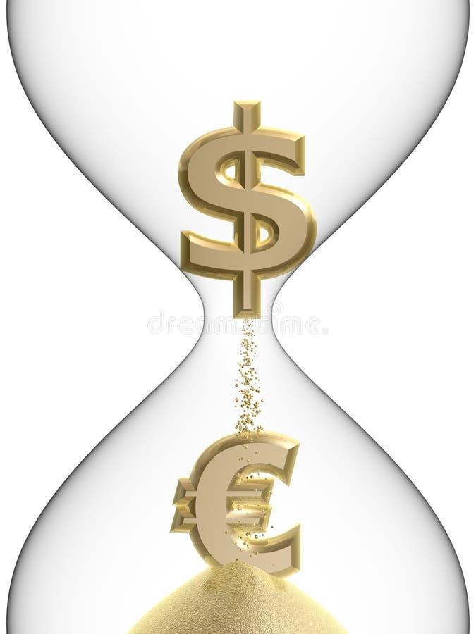 Euro- símbolo do dólar no hourglass ilustração stock
