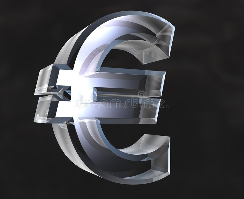 Euro- símbolo no vidro - 3D ilustração stock