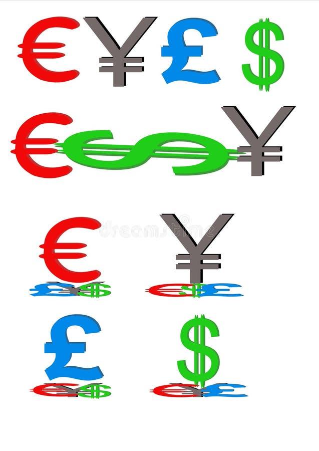 Euro- símbolos do dólar da libra dos ienes ilustração do vetor
