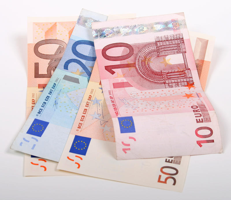 Euro's. 10, 20 and 50 Euro notes royalty free stock image