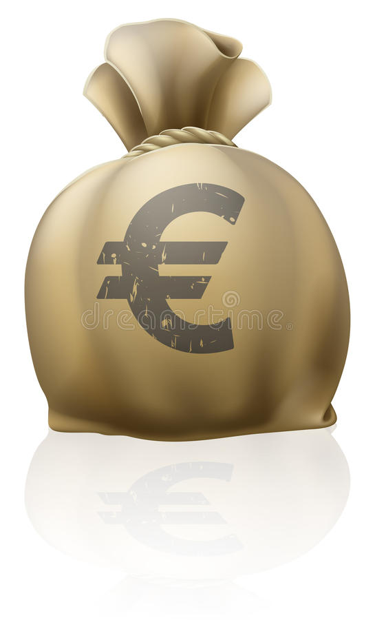 Euro sack. Illustration of a big sack with Euro currency sign royalty free illustration