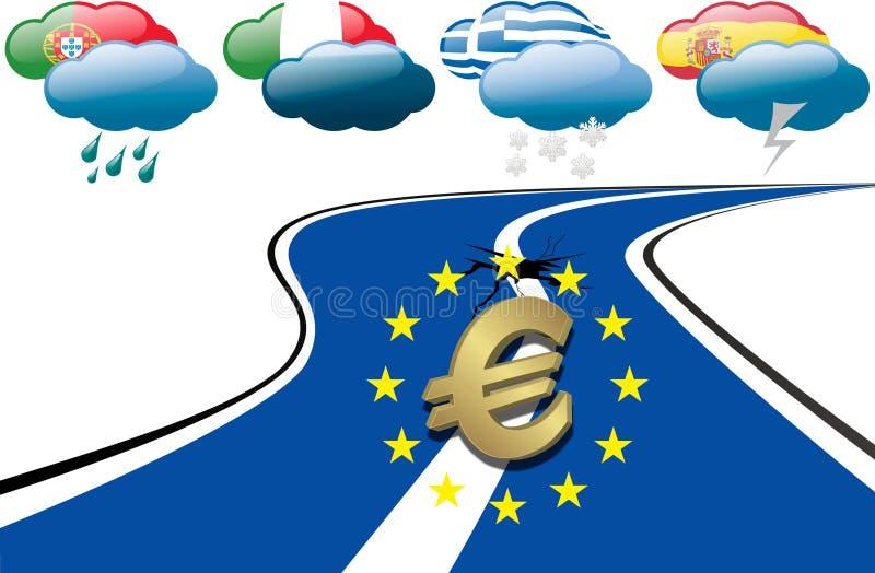 Euro schuldcrisis vector illustratie