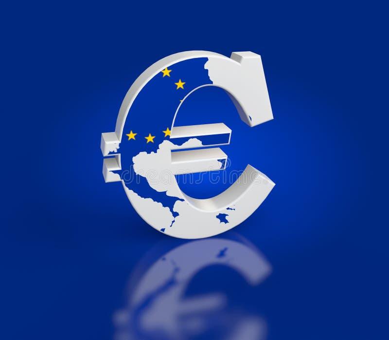 Euro segno con struttura della mappa illustrazione di stock