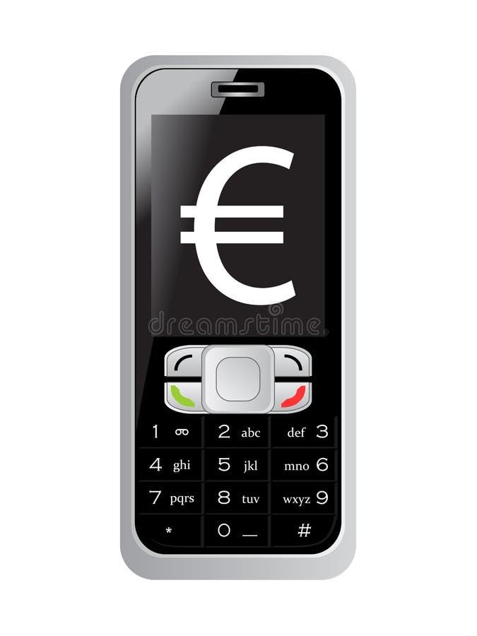 Euro segno sullo schermo del telefono mobile illustrazione vettoriale