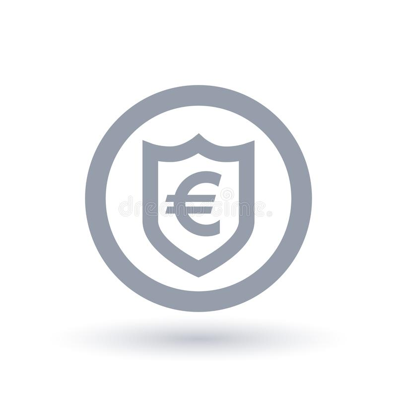 Euro Shield Symbol European Currency Security Icon Stock Vector