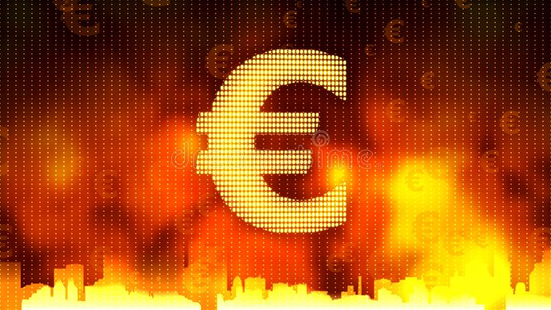 Euro sign against fiery background, money rules the world, financial market. Stock footage stock photo