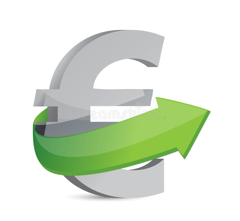 Euro sign with arrow. Symbolize growth. royalty free illustration