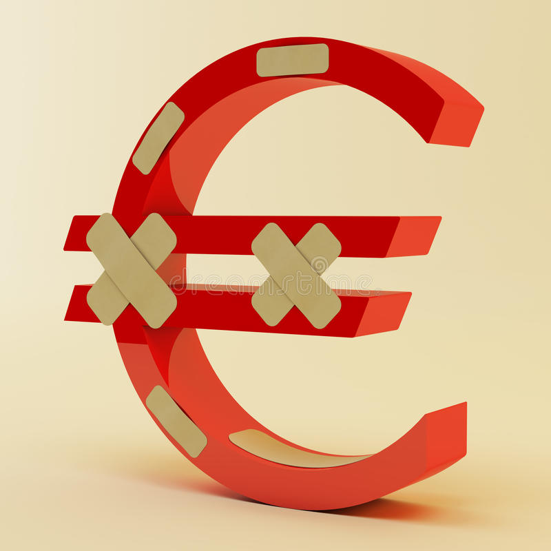 Download Euro sign with bandage stock illustration. Image of down - 24095375