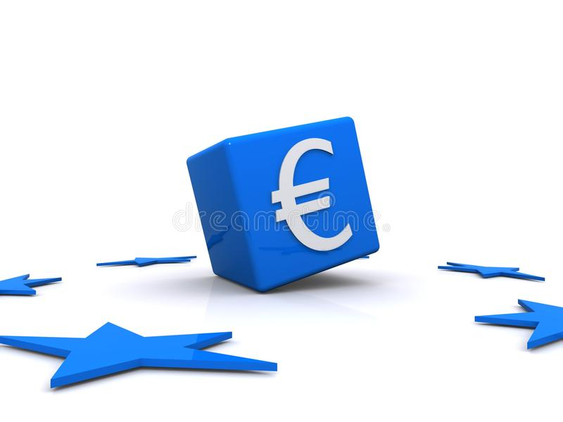 Euro Sign And Blue Stars Stock Images
