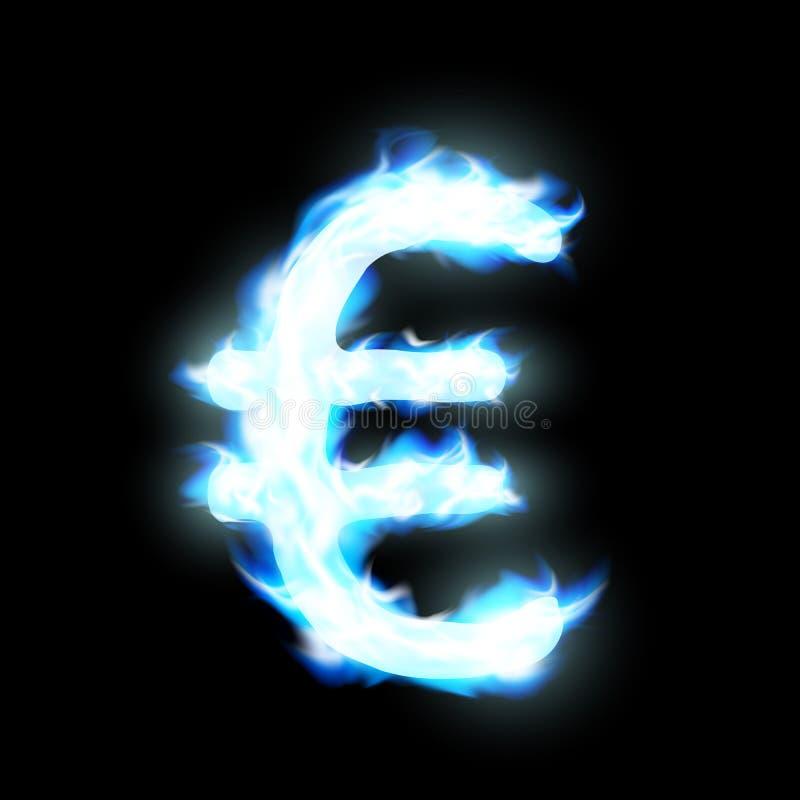 Euro sign. Burning blue flame