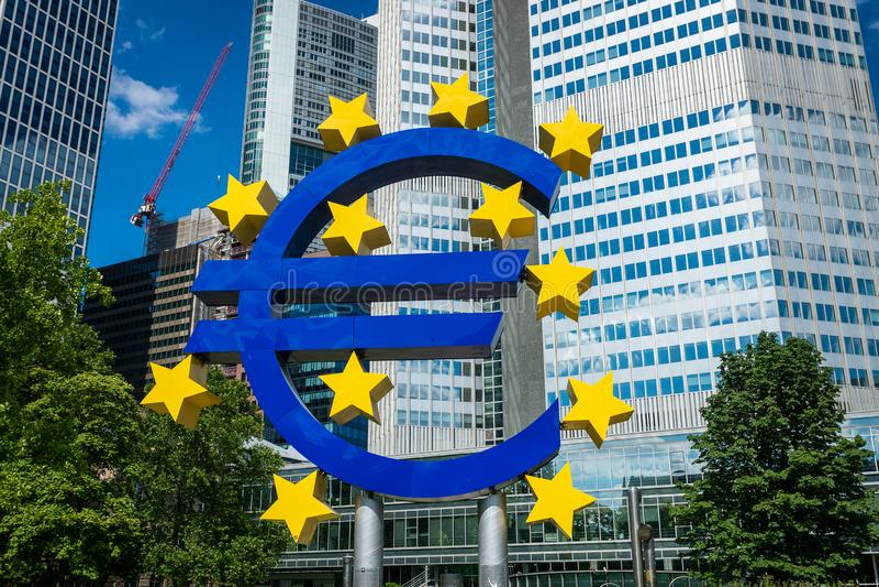 Euro Sign at European Central Bank ECB, the central bank for the euro royalty free stock photos