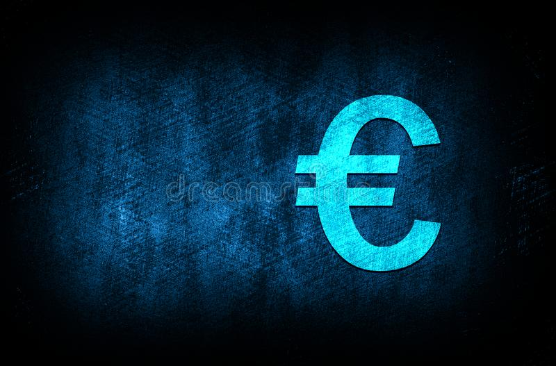 Euro sign icon abstract blue background illustration digital texture design concept. Euro sign icon abstract blue background illustration dark blue digital royalty free stock images