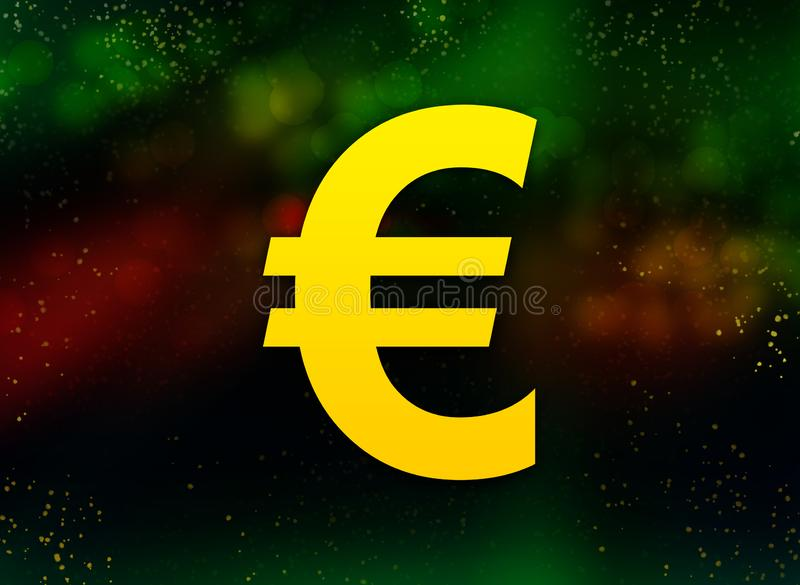 Euro sign icon abstract bokeh dark background vector illustration