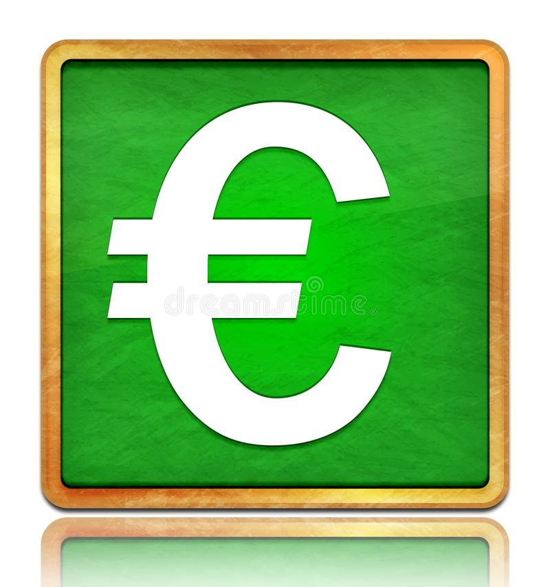 Euro sign icon chalk board green square button slate texture wooden frame concept isolated on white background with shadow. Reflection chalkboard illustration royalty free illustration