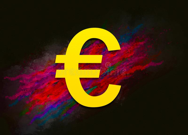 Euro sign icon colorful paint abstract background brush strokes illustration design. Creative bright red color texture fluid liquid waves vector illustration