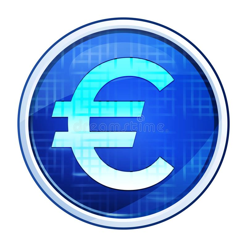 Euro sign icon futuristic blue round button vector illustration stock image