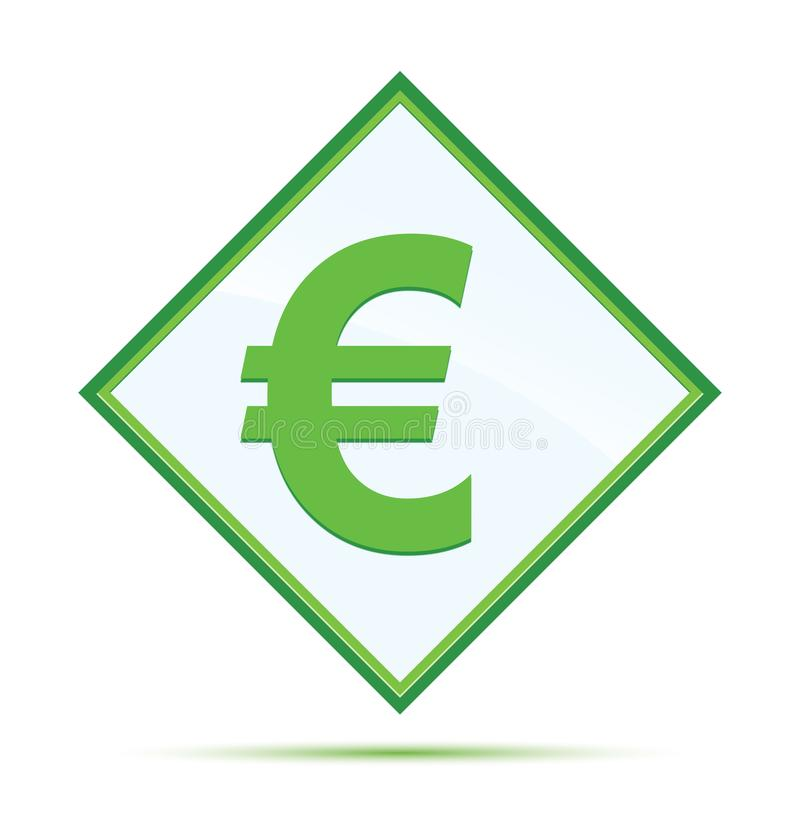 Euro sign icon modern abstract green diamond button stock illustration