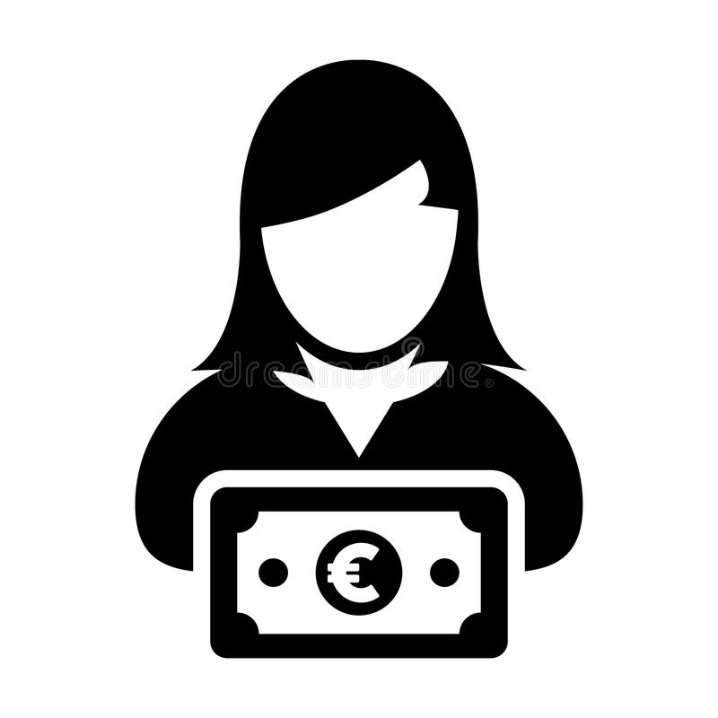 Euro sign icon vector female user person profile avatar with currency symbol for banking and finance business. In flat color glyph pictogram illustration vector illustration