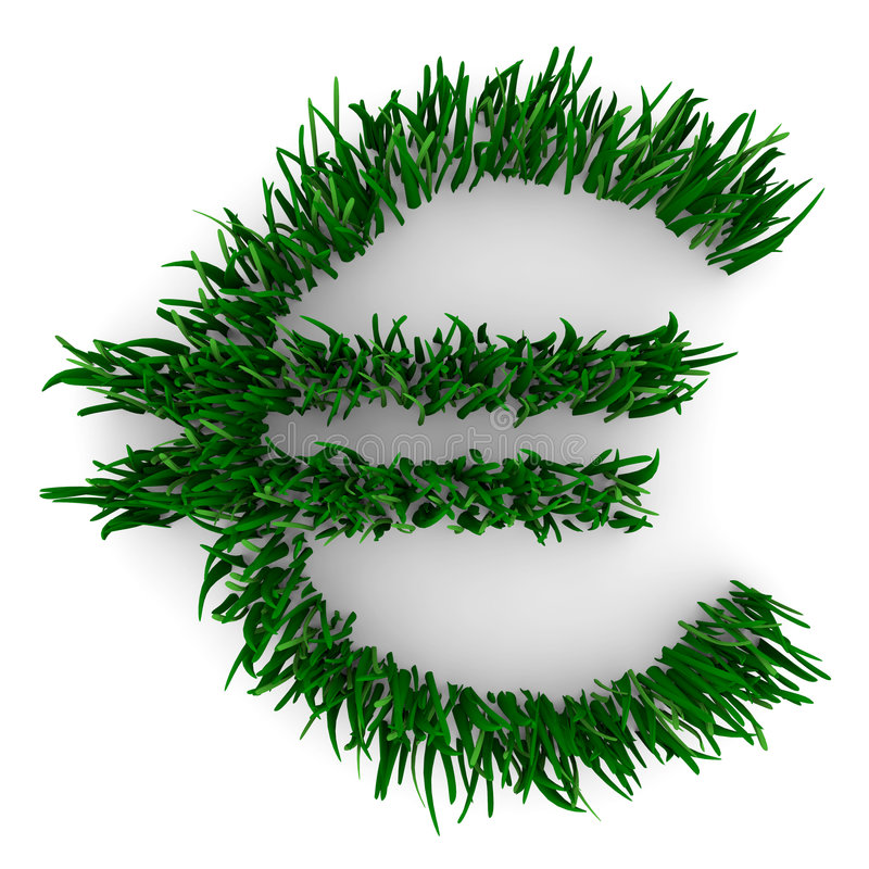 Euro Sign Made of Grass. A Euro figure composed of grass, symbolizing the environmental movement vector illustration