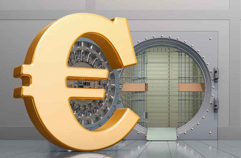 Euro sign with opened bank vault, 3D rendering. Isolated on white background stock illustration