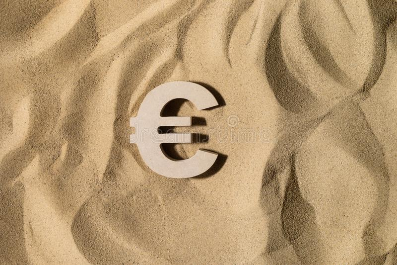 Euro Sign On the Sand stock photography
