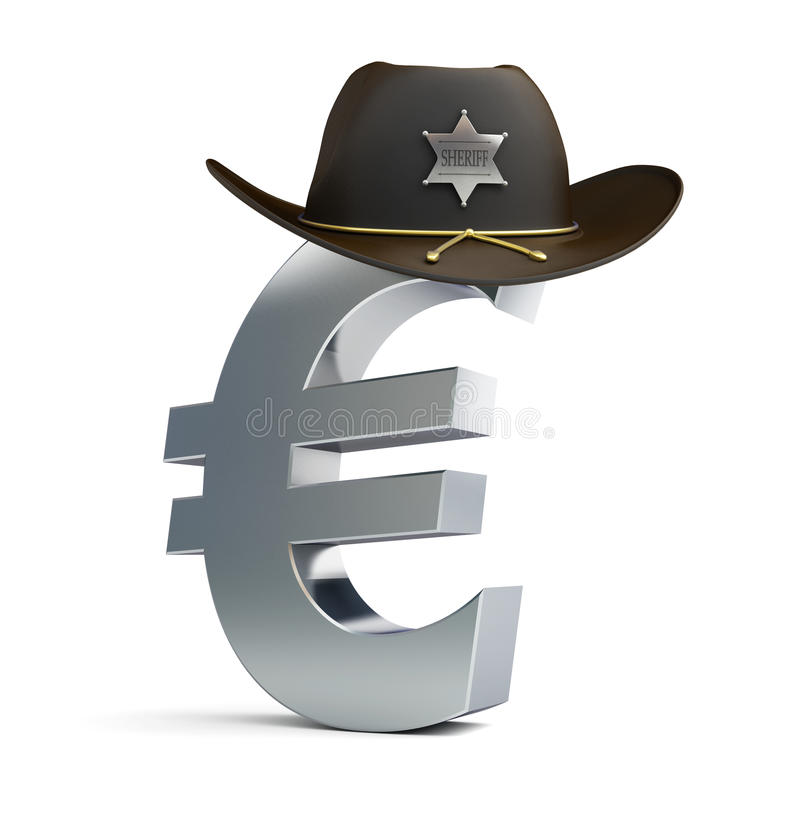 Euro sign sheriff hat vector illustration