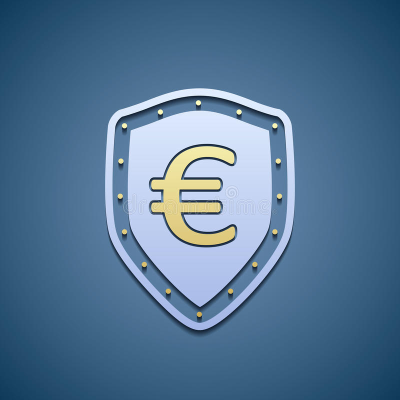 Euro sign on a shield. royalty free illustration