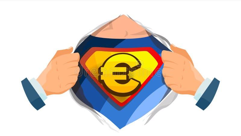 Euro Sign Vector. Superhero Open Shirt With Shield Badge. Isolated Flat Cartoon Comic Illustration royalty free illustration