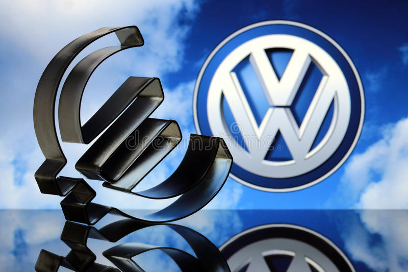 Euro sign with VW emblem stock images
