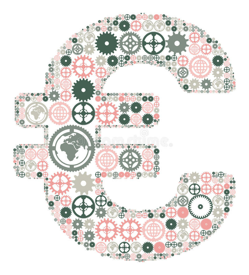 Euro Sign Made Of Colored Gears Stock Photo