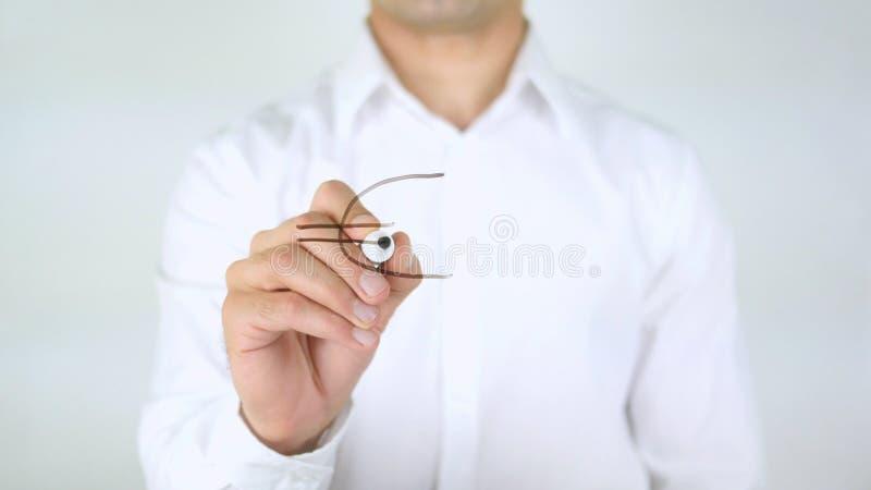 Euro signe, écriture d'homme sur le verre photos libres de droits