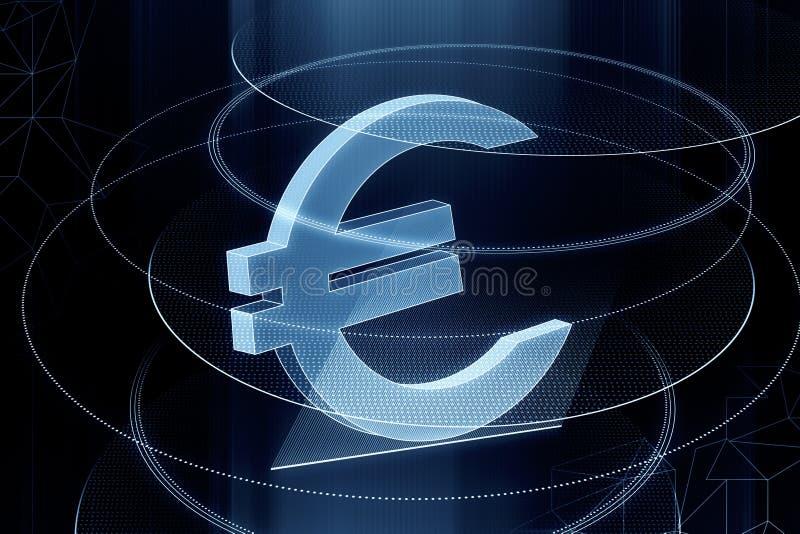 Euro signe bleu rougeoyant illustration libre de droits