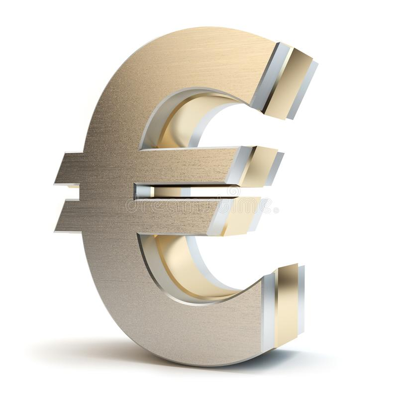 Euro signe d'or, illustration 3D photo stock