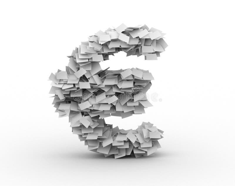 Euro signe, empilé des feuilles de papier illustration de vecteur