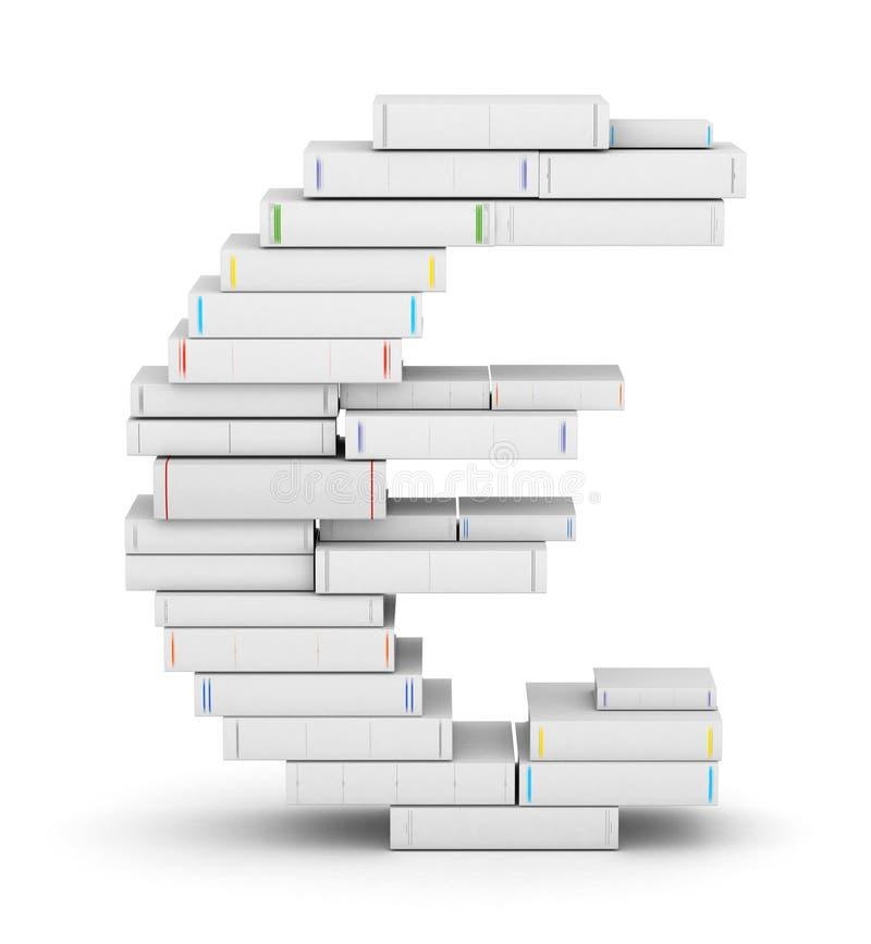 Euro signe, empilé des livres blanc illustration libre de droits