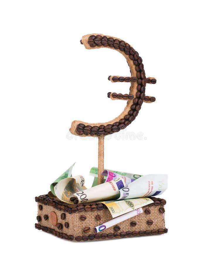 Euro signe fait main avec des billets de banque image libre de droits