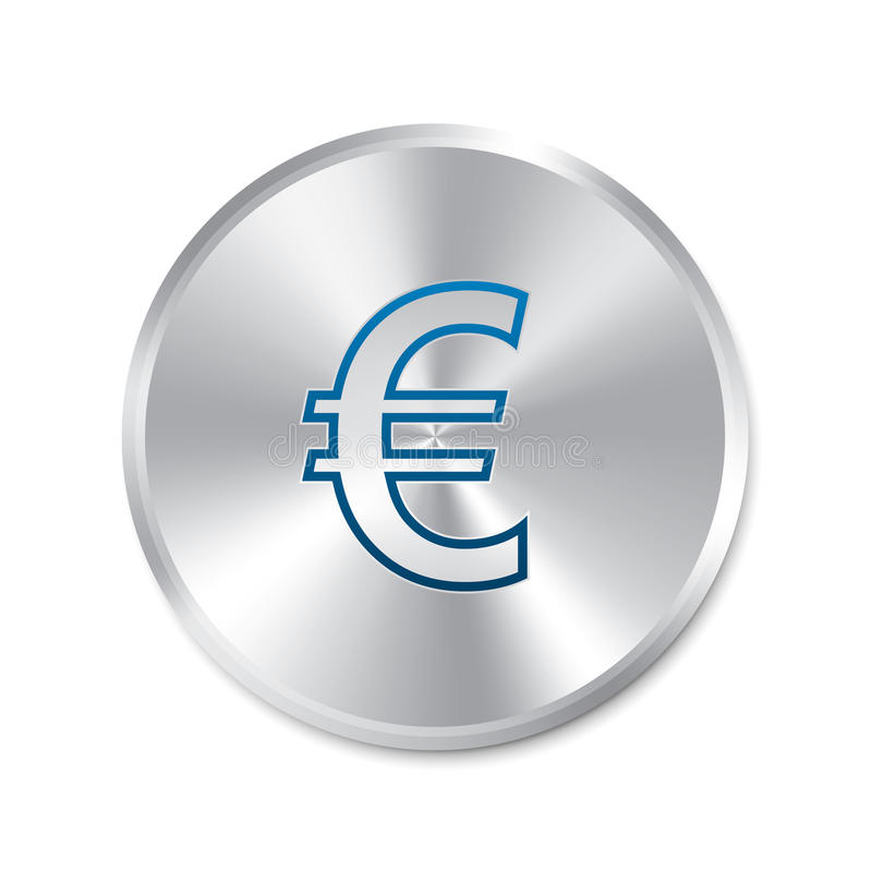 Euro Silver Sign. Isolated Currency Icon. Royalty Free Stock Photography