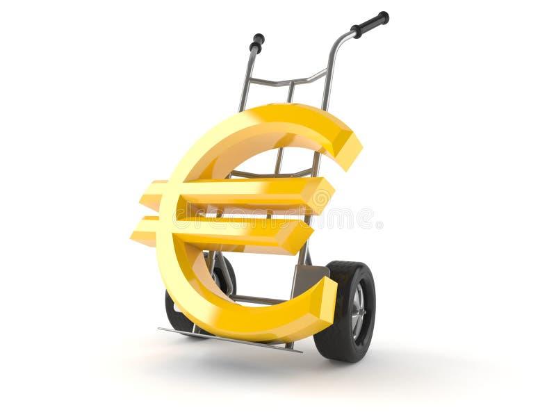 Euro simbolo con il carrello a mano illustrazione vettoriale